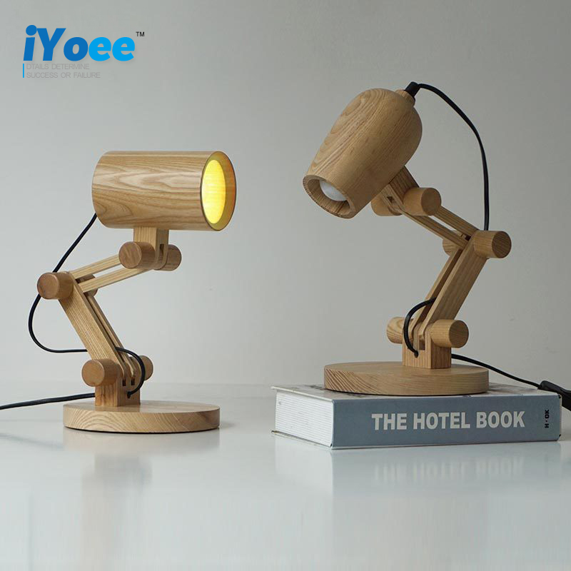 Oak Modern wooden Wall Lamp Lights For Bedroom Home Lighting,Creative Wall Sconce solid wooden wall light DIY robot Desk Light modern lamp trophy wall lamp wall lamp bed lighting bedside wall lamp
