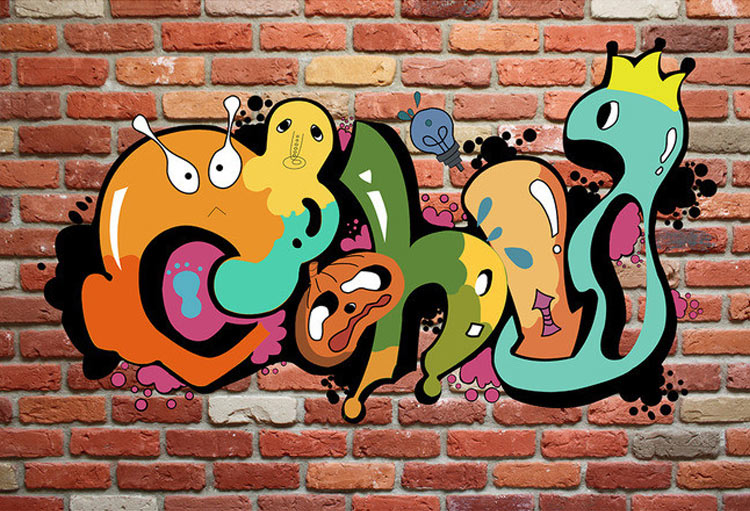 Custom Mural Wallpaper 3d Colorful Graffiti Retro Modern Style Mural