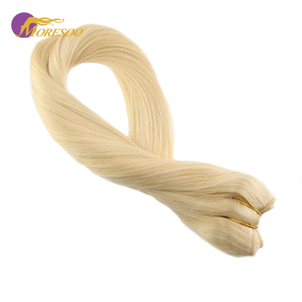Moresoo Flip In Real Remy Human Hair Extensions Bleach Blonde #613 Fishing Line Halo Invisible Hidden Secret Wire 50-100G