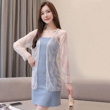 2019 Women Casual Solid Color Thin Chiffon Blouse Cardigans Summer Sun Protection Lace Outerwear Tops Female Beach Cardigan