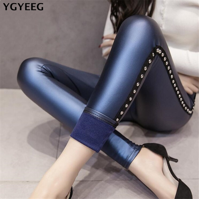 YGYEEG 2020 Winter Warm Legging Thickening Winter Sexy Black Leather Pants High Waist Casual Warm Solid Faux Leather Leggings