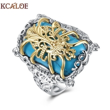 KCALOE Silver Plated Big Rings For Women Hollow Pattern Statement Pattern Blue Natural Stone Gothic Ring Steampunk Jewelry