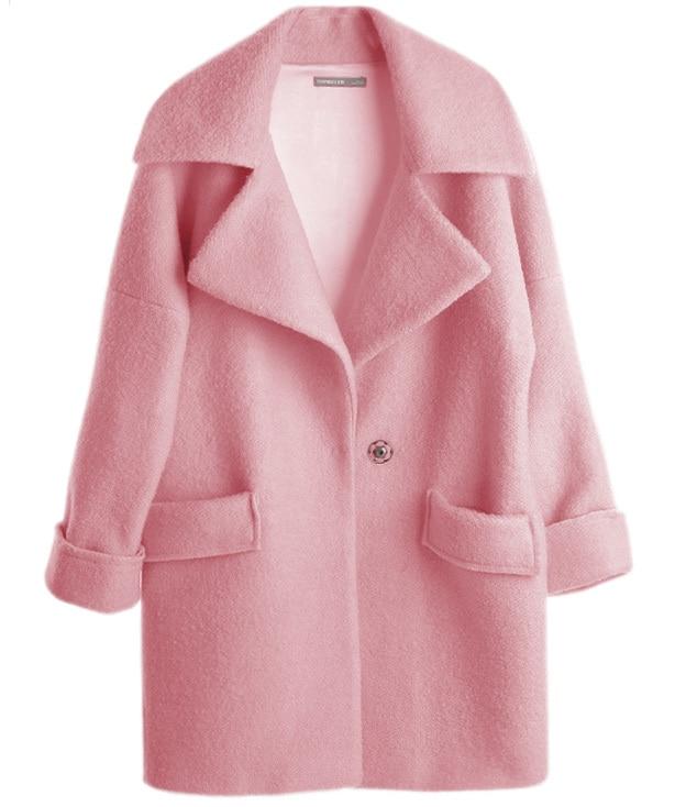 Excellent UK New Casual 2018 Spring Winter Woolen Pink coat Women Single  OW22