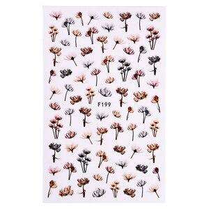 Image 3 - 1 folha em relevo 3d adesivos de unhas flor flor 3d arte do prego adesivos decalques adesivo manicure dicas da arte do prego decoração saf199