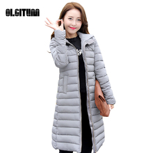 2017 New winter feather padded Girls long section of Korean version of Slim Hooded jackets coat