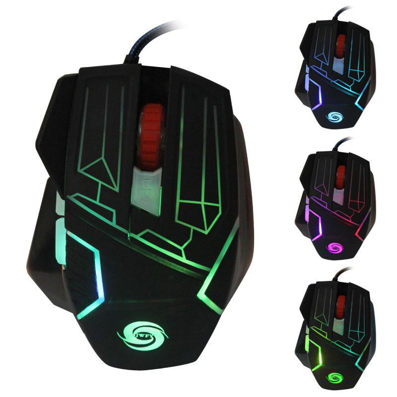 Colorful metal mechanical feeling game mouse 6 keys wired mice for notebook computer desktop 5500DPI game mouse