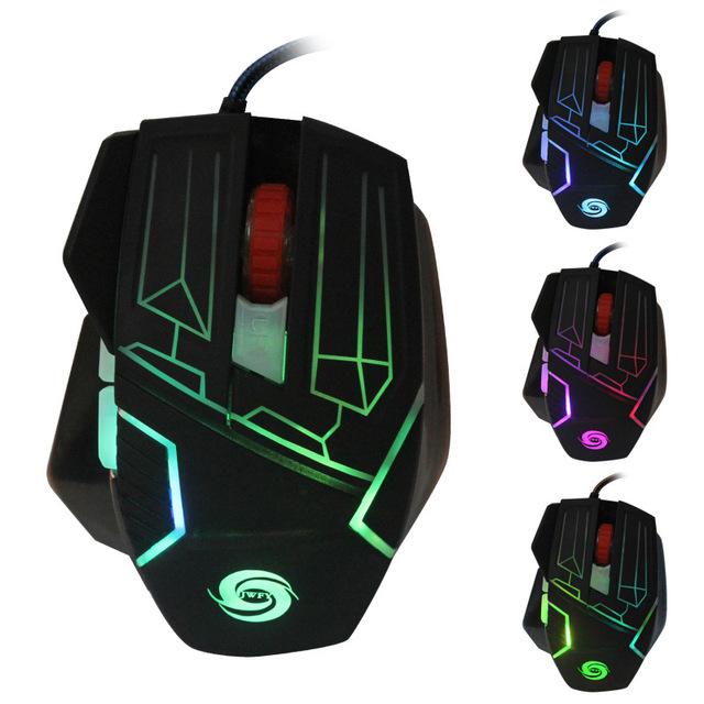 Colorido de metal mecânica sentimento jogo 6 teclas do mouse com fio ratos para computador desktop notebook 5500 DPI jogo do rato