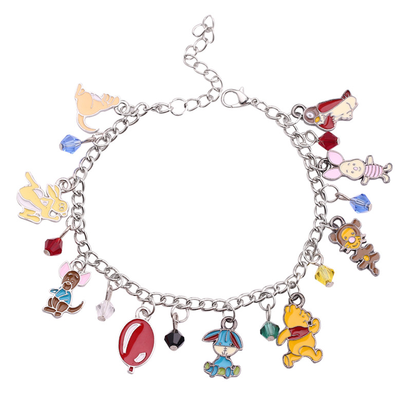 Us 2 48 20 Off Cartoon Bracelet Winnie Pooh And The Honey Tree Piglet Tigger Eeyore Animated Character For Kids Birthday Gift In Charm