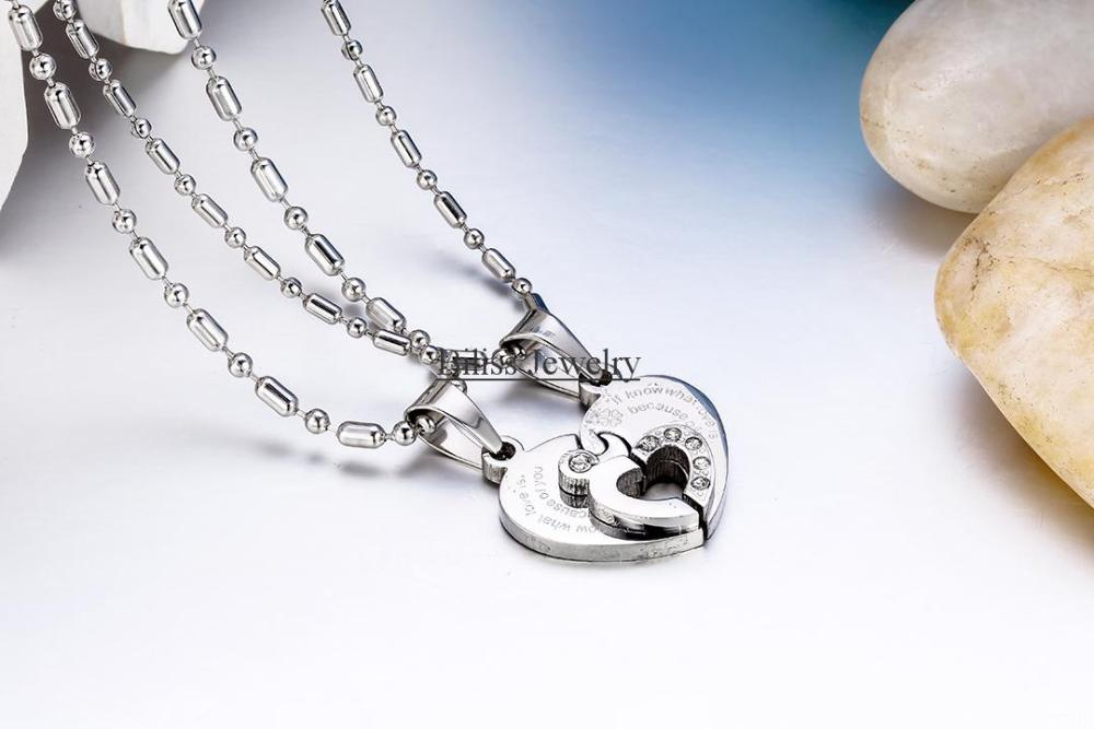pendant and groupon deals steel half couples for heart female lovers gs necklace male stainless