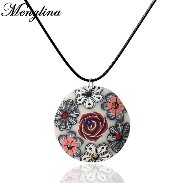 Menglina fashion rose flower fimo polymer clay pendant necklace for menglina fashion rose flower fimo polymer clay pendant necklace for women leather rope choker necklaces aloadofball Image collections