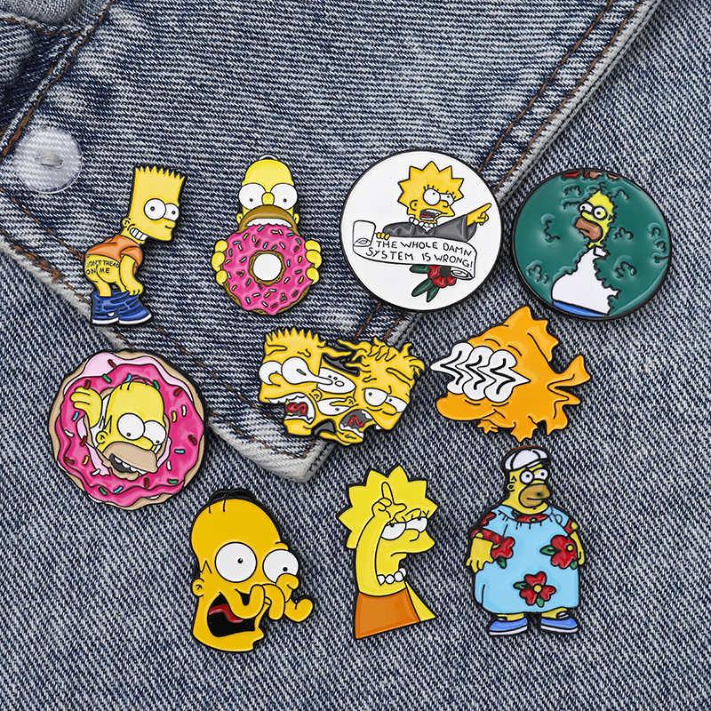 THE SIMPSONS Pin Donat Lucu Desain Bros Lencana Humor Kartun Enamel Ransel Pin untuk Para Penggemar Anime Hadiah Perhiasan Grosir