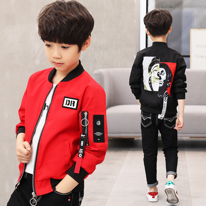 Spring Autumn Jackets For Boy Coat Bomber Jacket Army Green Boy's Windbreaker Jacket Multicolor Kids Baseball Long-sleeveJacket