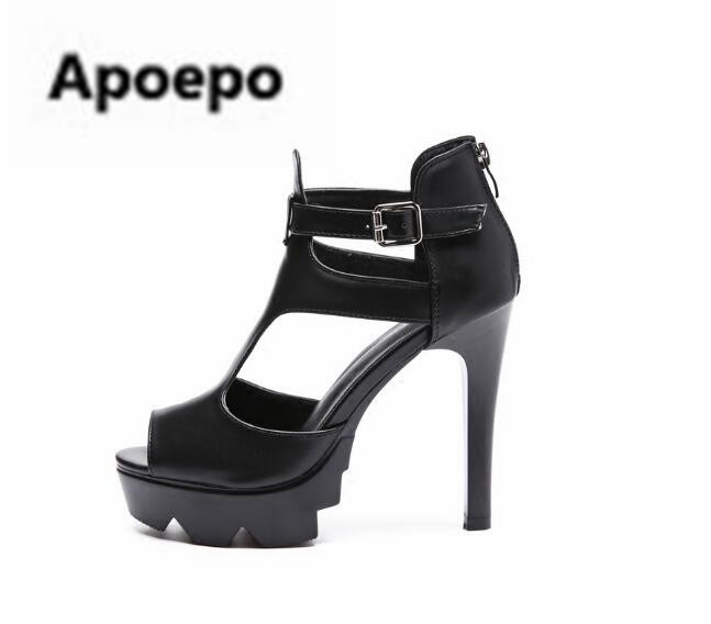 Apoepo brand black peep toe summer ankle boots zipper gladiator sandals women sexy cut-outs high heels sandals ladies Nightclub back zipper tassel sandals 2017 summer style cut outs gladiator booties black leather stiletto high heels platform short boots