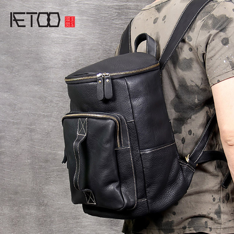 AETOO Simple retro leather shoulder Baotou layer cowhide Backpack mens large capacity bucket bag travel bagsAETOO Simple retro leather shoulder Baotou layer cowhide Backpack mens large capacity bucket bag travel bags