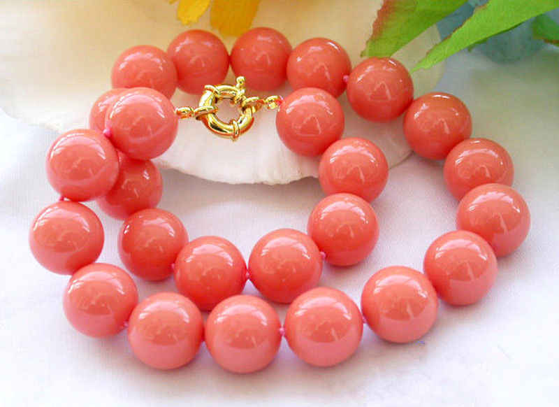 8/10/12/14MM Genuine Coral Pink South Sea Shell Pearl Round Beads Necklace 18''