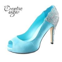 Handmade Aqua Blue Turquoise Rhinestone Heels Open Peep Toe Woman Wedding Party Prom Shoes Bridal Dress