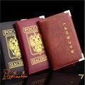 2016 nueva moda doble dirigió el águila emblema nacional de rusia cubierta del pasaporte Holder con Card ID Case Holder para hombre y mujeres de
