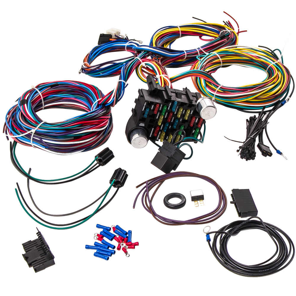 Universal Chevy Gm 12 Circuit Wire Harness Kit Street Hot ... on universal wiring harness kit, universal hot water heaters for cars, universal painless wiring harness, universal wiring harness diagram, universal hot rod motor mounts, universal gm wiring harness, universal hot rod mirrors,