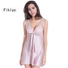a947b9e5a8cced Fiklyc marka sexy kobiet koszule nocne piżamy piżama home odzież koszule  nocne V-neck bez