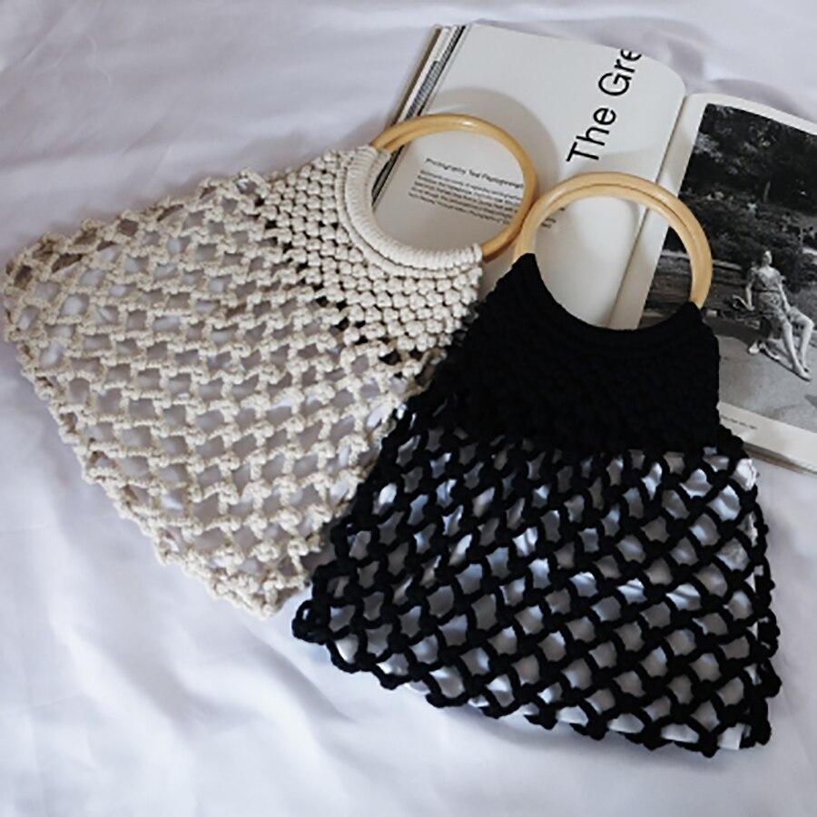 Femmes à la main maille sacs noué rotin anneau sac à main épais coton fil creux crochet ligne sacs grande capacité plage sac 2019