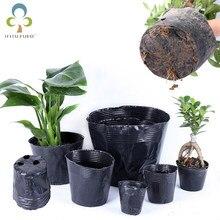 5 pces-100 pces 13 tamanho avaible berçário pote plástico preto berçário caixa jardim recipiente crescer saco jardim suprimentos gyh
