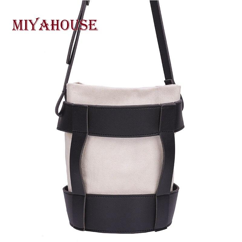 Canvas Bucket Bag Hit Color Shoulder Bag For Female Casual Portable Shoulder Messenger Bags