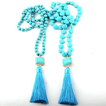 Fashion Bohemian Jewelry Blue Flat Stones Bead Long Knotted Stone Link Tassel Necklace(China)