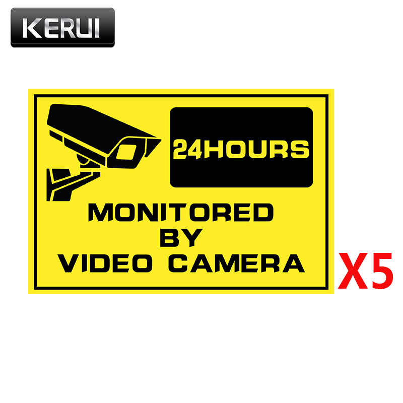 5 قطعة تحذير ملصق علامات الأمن-ملصقات نافذة نظام مراقبة أمن الوطن CCTV تنبيه ملصق للكاميرا IP