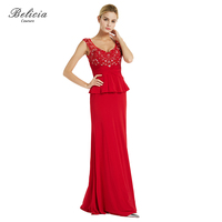 Belicia Couture Women Red Evening Dresses Beading Sleeveless Jersey Long Party Gown Floor Length Formal Celebrity