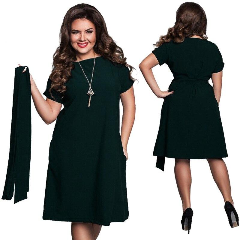 2017 Summer New Fashion Dresses for Women Plus Size Dress Elegant Ladies  Big Size Jurken Fat MM 6xl Women Clothing   with Belt -in Dresses from  Women s ... 56e15cedd4ea