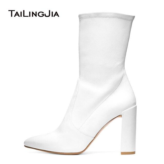Femmes talon épais blanc en cuir synthétique chaussette bottillons noir Stretch mi-mollet bottes pour dame bout pointu femme printemps automne chaussures 2018