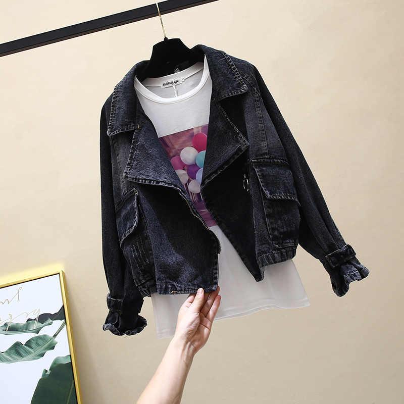 Koreanischen stil Frauen Mantel Kurze Denim Jacke Weibliche Lose Große Größe Vintage Mäntel Casual Schüler Outwear Frauen Schwarze Jeans Jacke