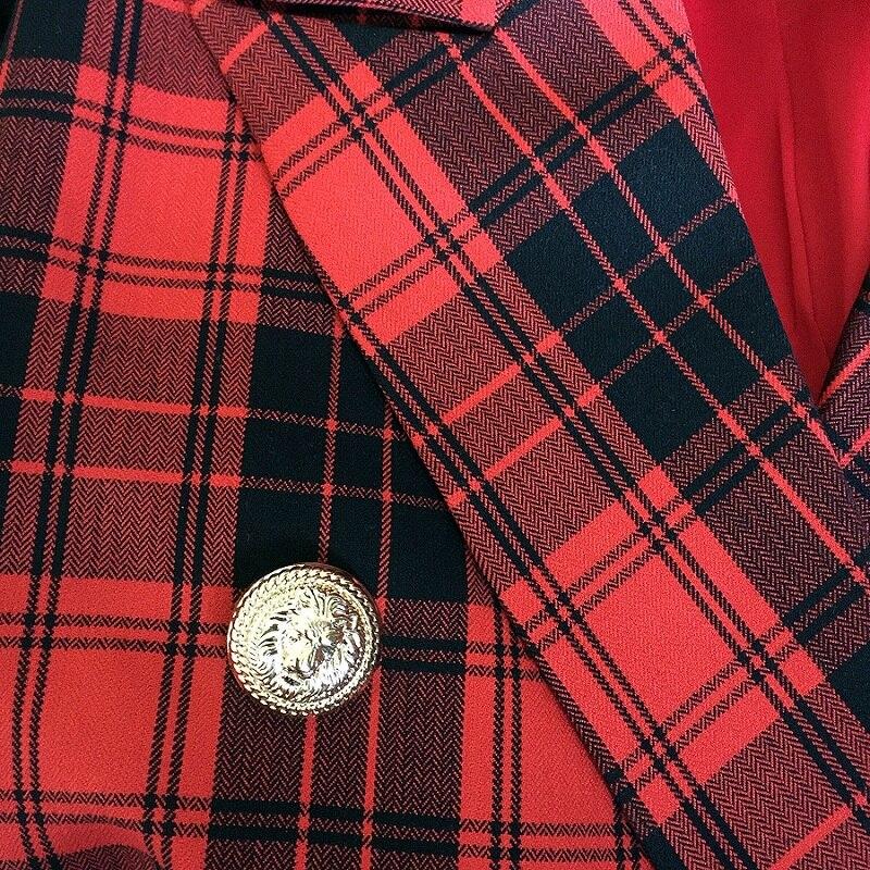 Femmes Vêtements À Mode Plaid Lion Designer Manteau Double Laine Automne 2018 Piste Tweed Veste Boutonnage Vestes Boutons Hiver qw1H0xTq