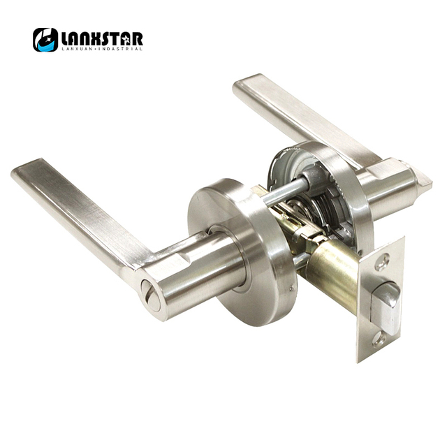 Security Door Lock 304 Stainless Steel Safety Single Spring Bolt Lockset  With Handles Privacy Keyless Interior
