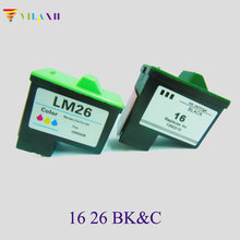 цена на 2Pcs For Lexmark 16 26 Ink Cartridge For Lexmark Z605 Z615 Z645 Z611 Z617 i3 Z13 Z23 Z25 Z33 Z35 Z513 Z515 Z603 X2250 X74