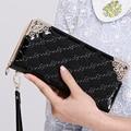 Las mujeres de alta calidad de la pu de cuero con cremallera larga monedero de la cartera estándar femenino lindo partido del monedero carteras dinero cartera femenina a cuadros negro