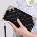 Women high quality pu leather zipper long standard wallet purse female cute black plaid money wallet female party purse carteras