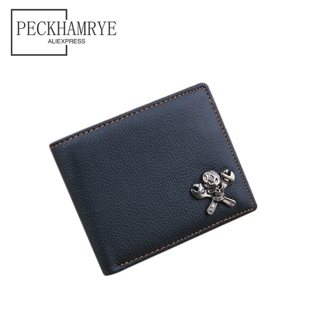 db3a0cc35d42 2018 new fashion skull wallet for men wallet genuine leather purse clutch  vintage punk rivets men wallet card holders