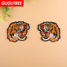 GUGUTREE embroidery tiger patches animal badges applique for clothing YX-260