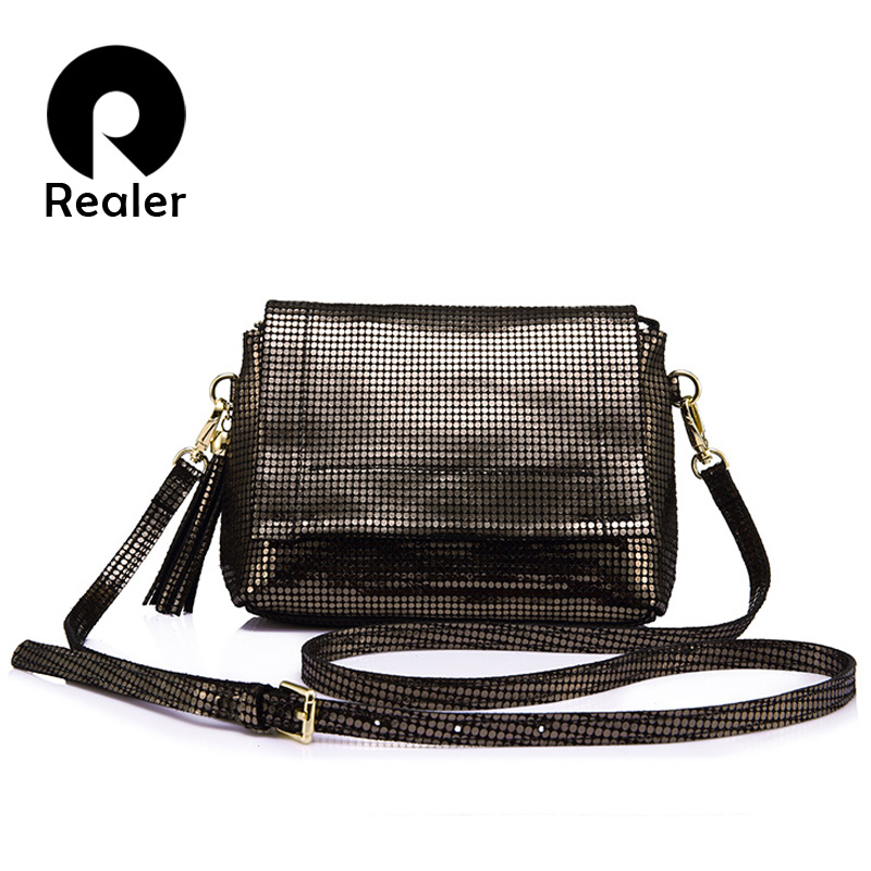 REALER brand genuine leather crossbody bag women messenger bags with tassel ladies shoulder bag with high