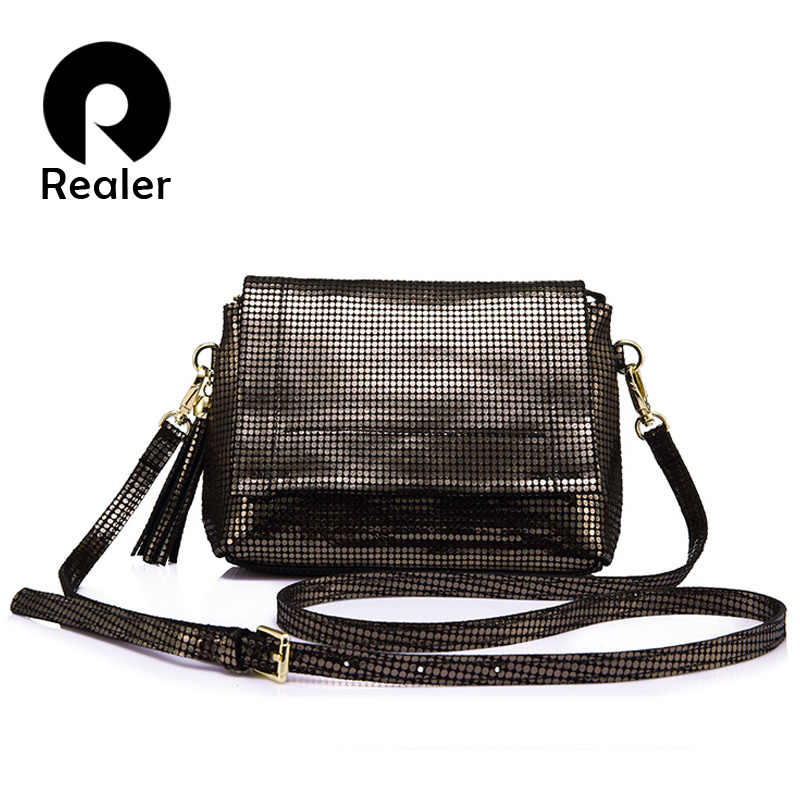 REALER brand genuine leather crossbody bag women messenger bags with tassel ladies shoulder bag with high quality cow female