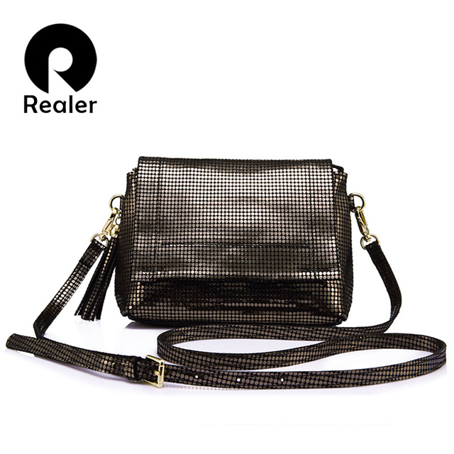 d4ca8b6395 REALER brand genuine leather crossbody bag women messenger bags with tassel  ladies shoulder bag with high quality cow female