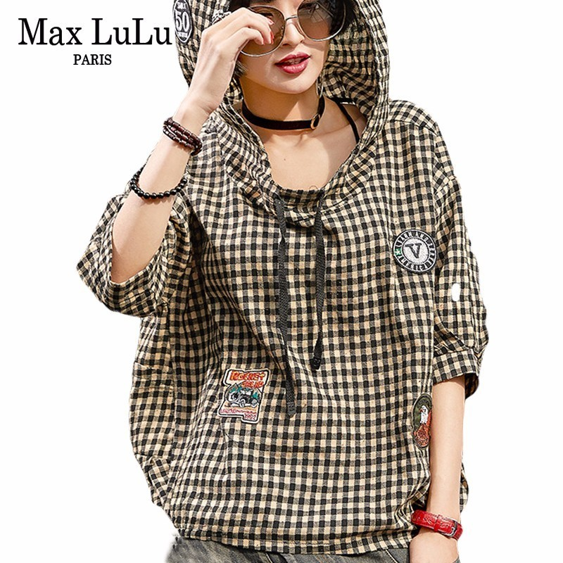 Max LuLu Spring 2018 Famous Japan Brand Girls Hooded Clothes Womens Tops And Blouses Cotton Vintage Woman 3d Plaid Shirts Camisa