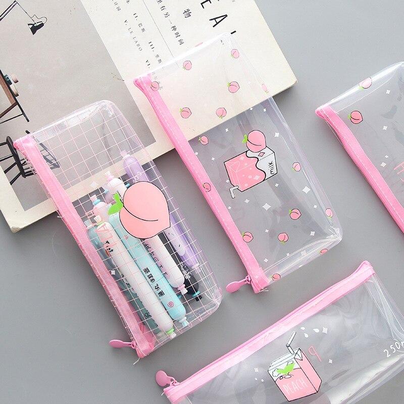 Pencil Case Transparent Kawaii School For Girls Trousse Scolaire Cartuchera Para Lapices School Etui Piorniki Kalem Kutusu Cute