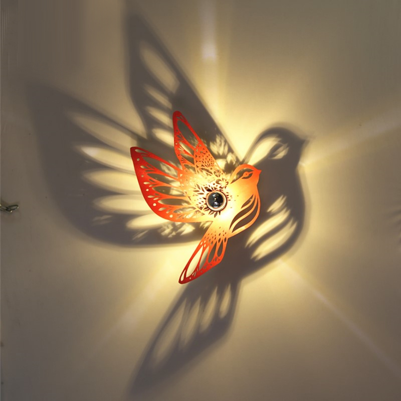 creative bird lamp modern wall sconce restaurant corridor aisle led wall lights balcony Hollow wooden wall lights bathroom light