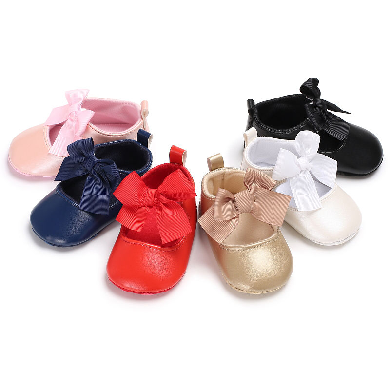 WONBO 0-18M Toddler Baby Girl Soft PU Princess Shoes Bow Bandage Infant Prewalker New Born Baby Shoes | Happy Baby Mama