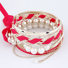 Ziris Bohemian Multilayer Bracelet Femme Fabric Bow Bracelets Bangles sets for Women Plastic Pearl Pulseras Mujer Bijoux(China)