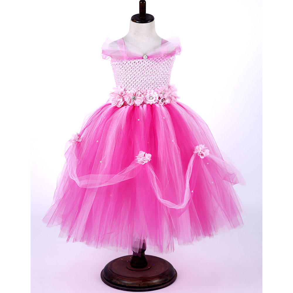 Hot Pink Flower Girl Maxi Tutu Dress Elegant Fluffy Wedding Tutu Dresses With Flowers Sash Princess Birthday Party Clothing