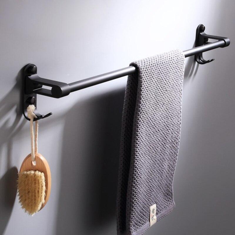 European design New Style Black single pole bathroom hardware pendant single pole towel rack bathroom accessories 999SG