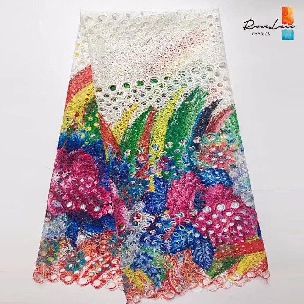 Colored Printed Mlik Silk Lace White African India Cotton Cord Lace Fabric Ankara Nigreia Style Printing